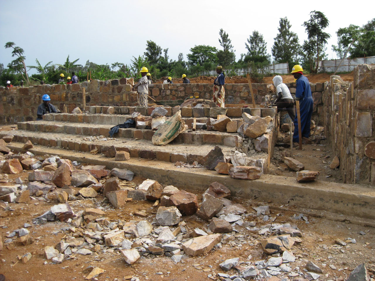construction of a rock wall at the Gashora Girls Academy