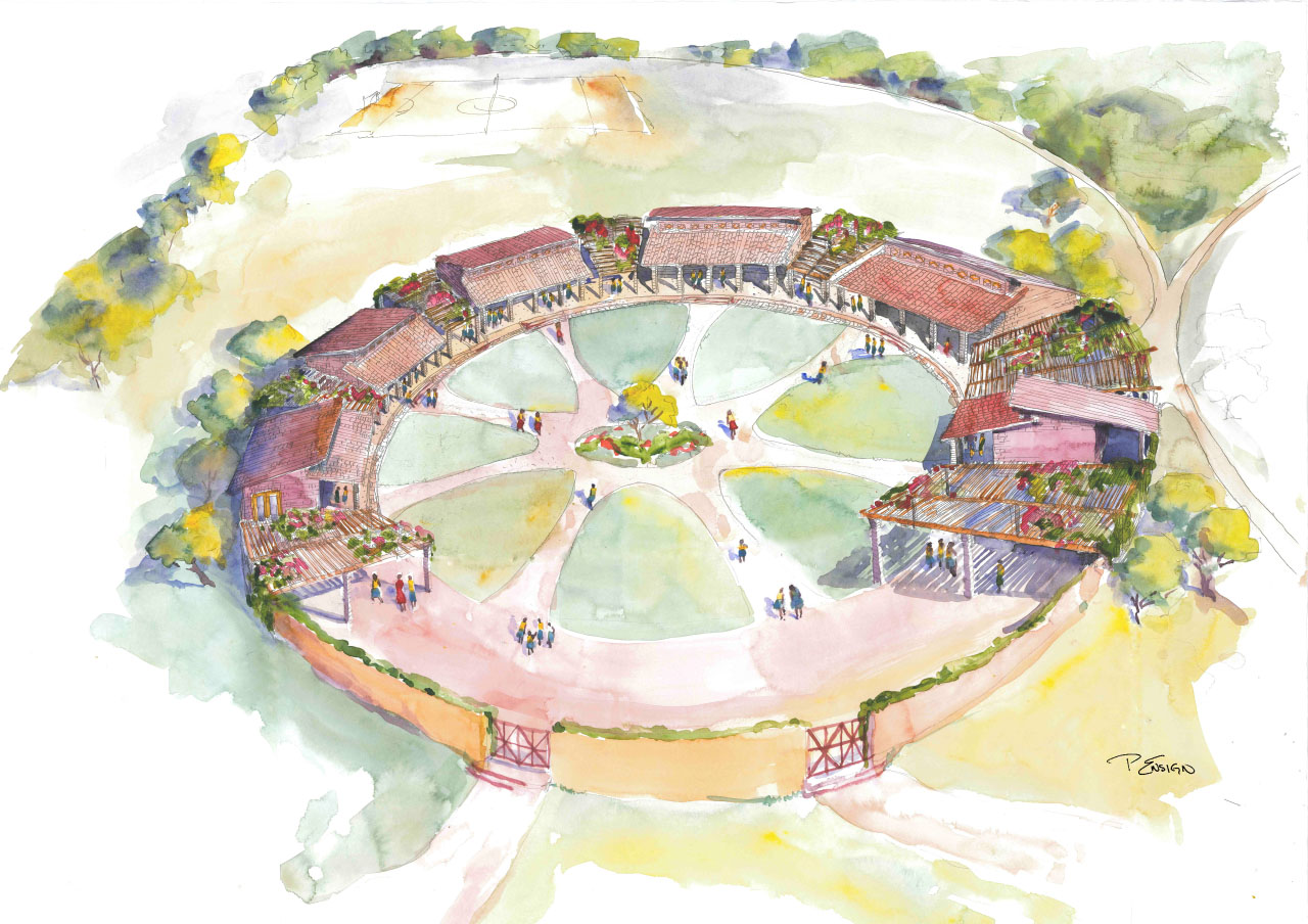 watercolor concept drawing Gashora Girls Academy by MulvannyG2 Architecture