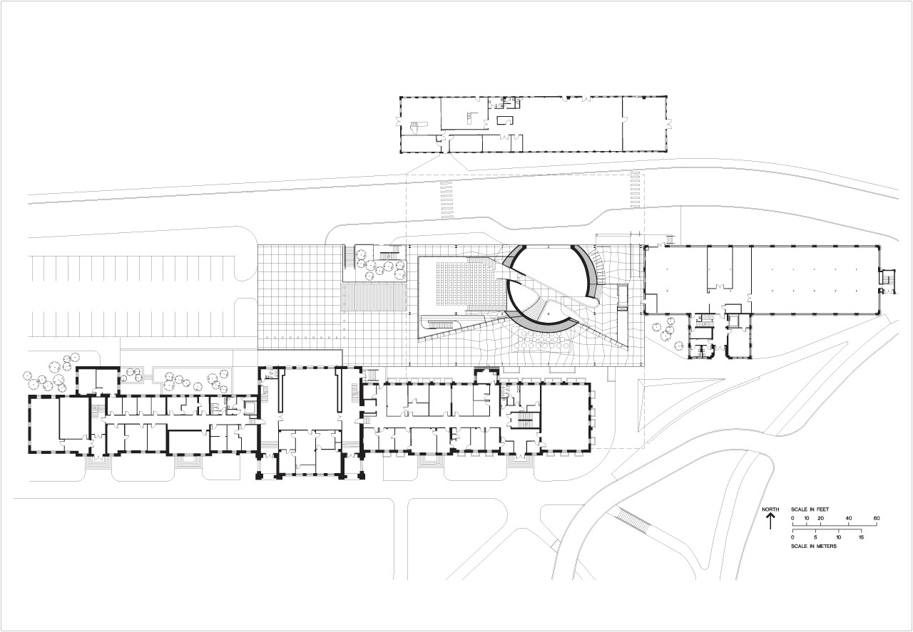 Drawings of Cornell University's Millstein Hall College of Architecture, Art and Planning by OMA