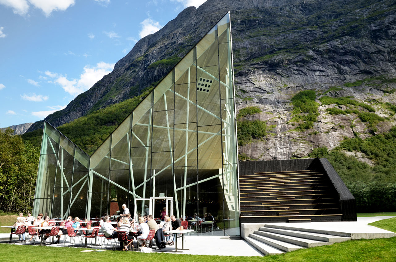 Restaurant exterior architecture - Roadside Attraction The Trollveggen Photos Credit Reiulf Ramstad Architects