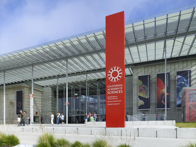 The exterior entrance of Renzo Piano's California Academy of Sciences in San Francisco
