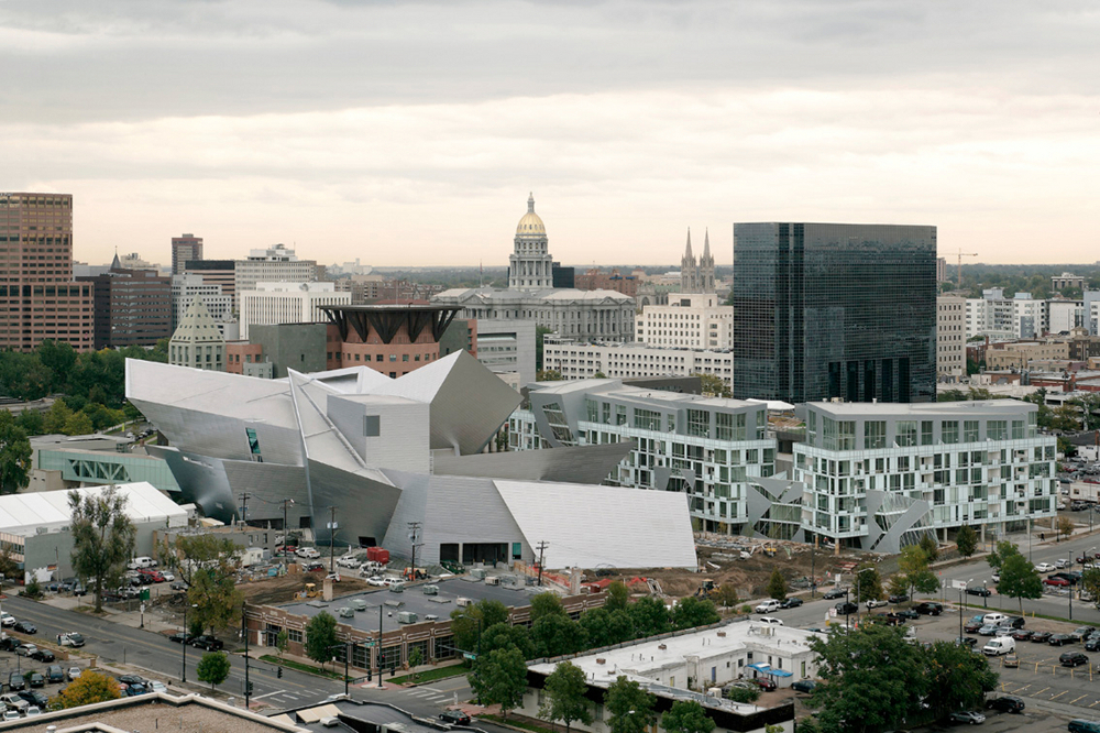 Aerial view of The Denver Art Museum and Museum Residences by Daniel Libeskind