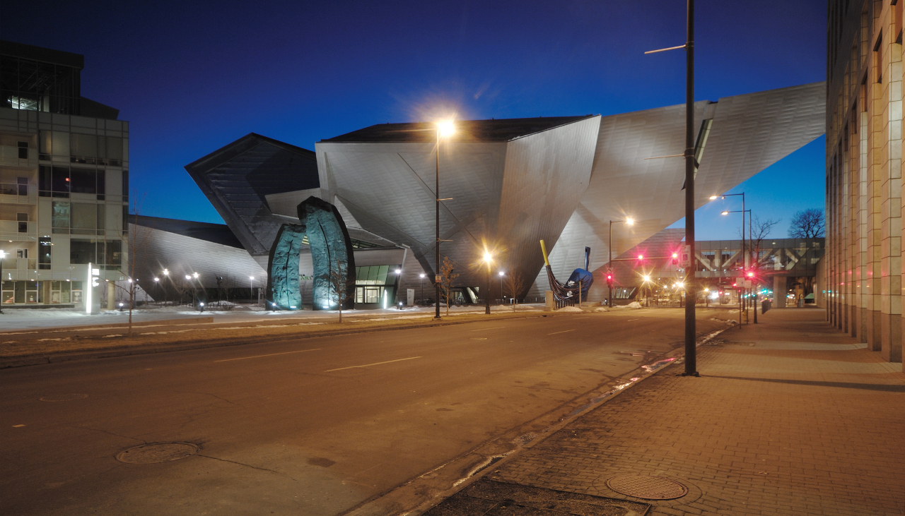 Night view of The Denver Art Museum by Daniel Libeskind