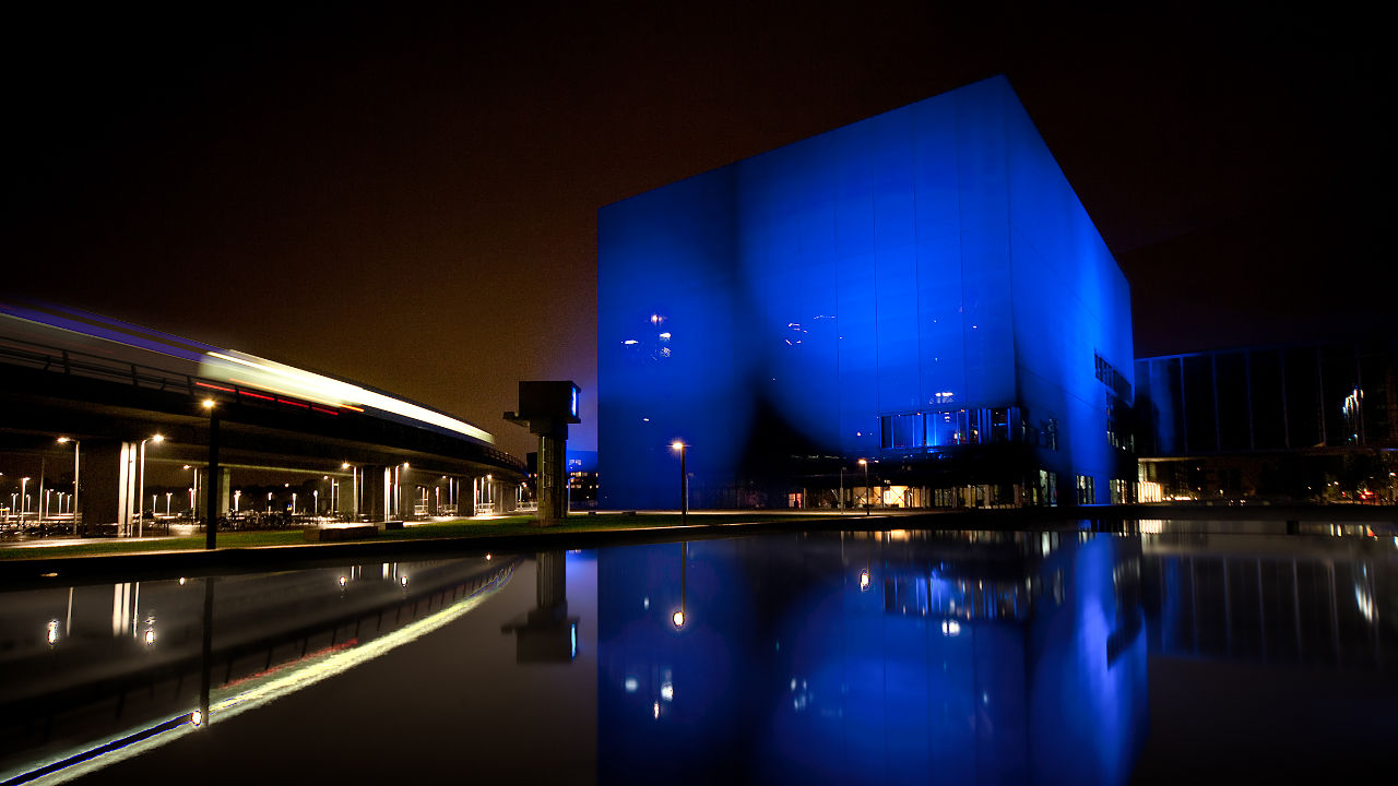 Copenhagen Concert Hall wrapped by a blue fabric screen facade by architect Jean Nouvel