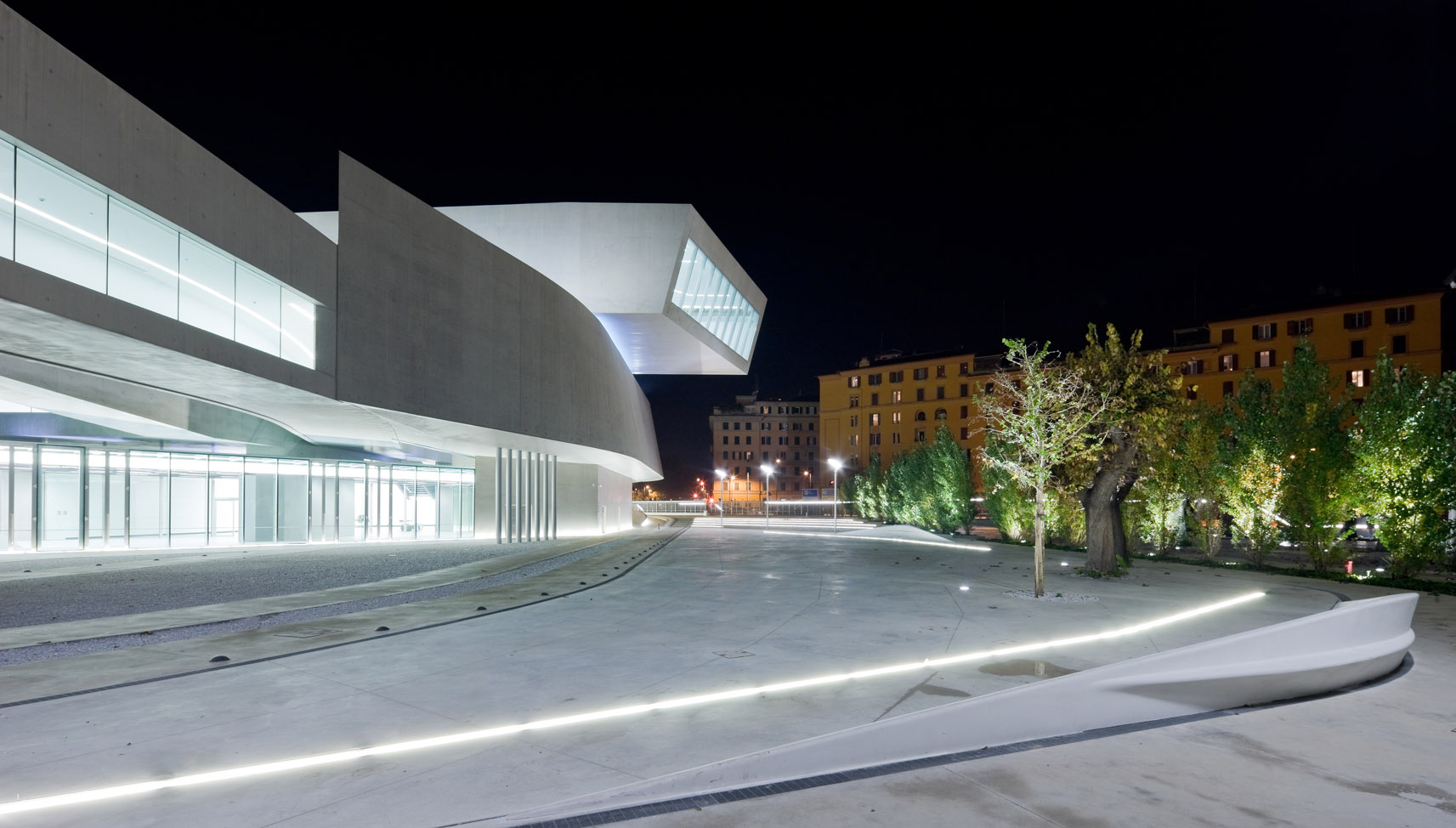 exterior of Zaha Hadid's MAXXI- National Museum of XXI Century Arts