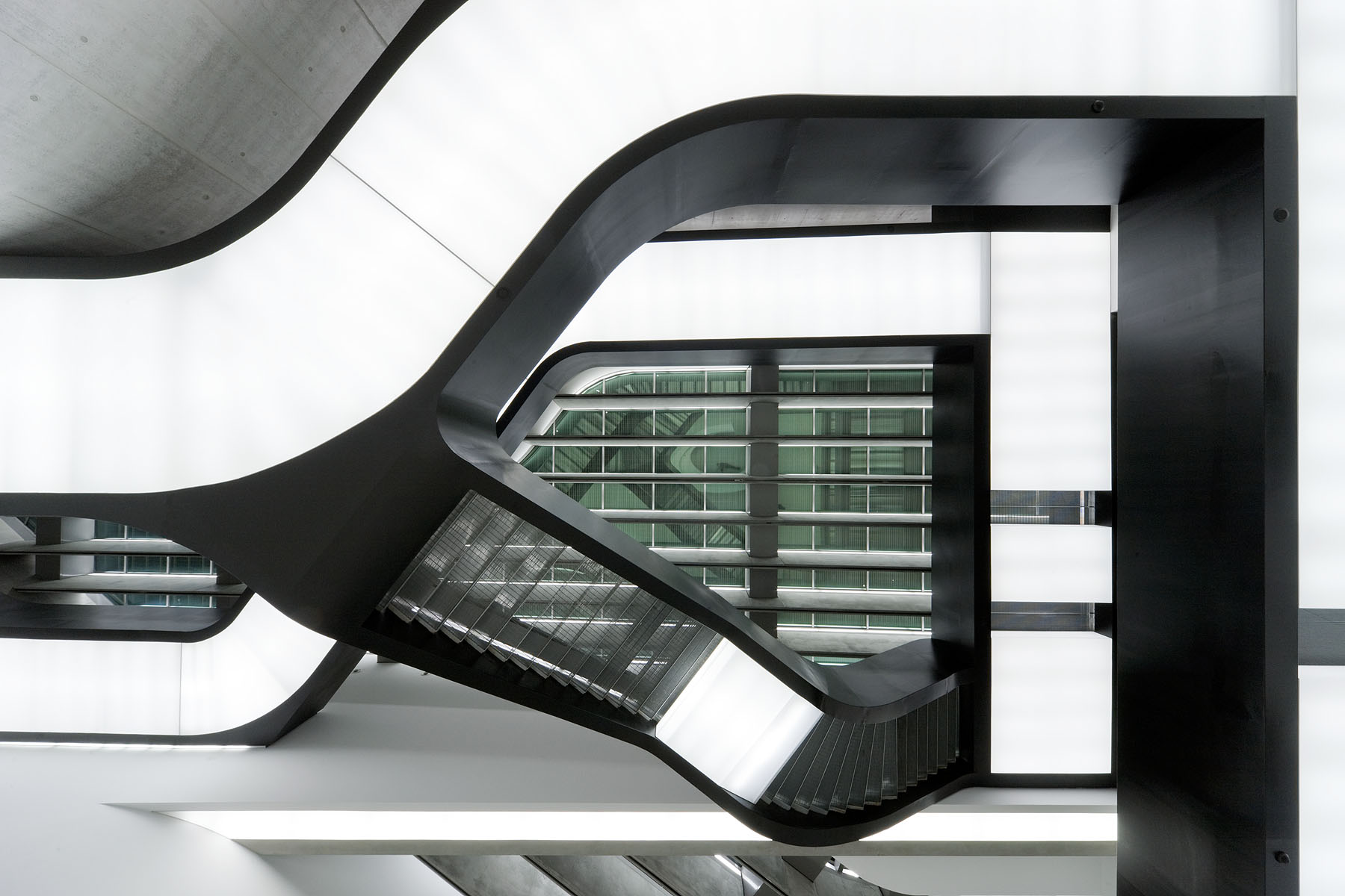 Gallery stairs of Zaha Hadid's MAXXI- National Museum of XXI Century Arts
