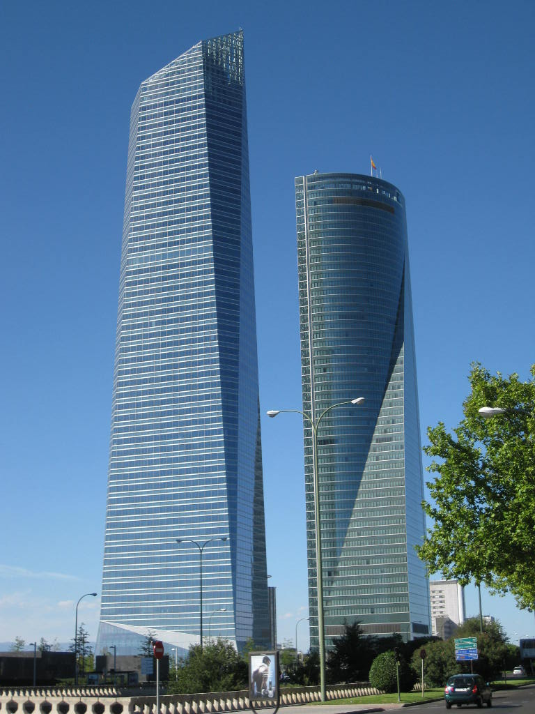 Madrid's  Space Tower (Torre Espacio) and  Crystal Tower (Torre Crystal)