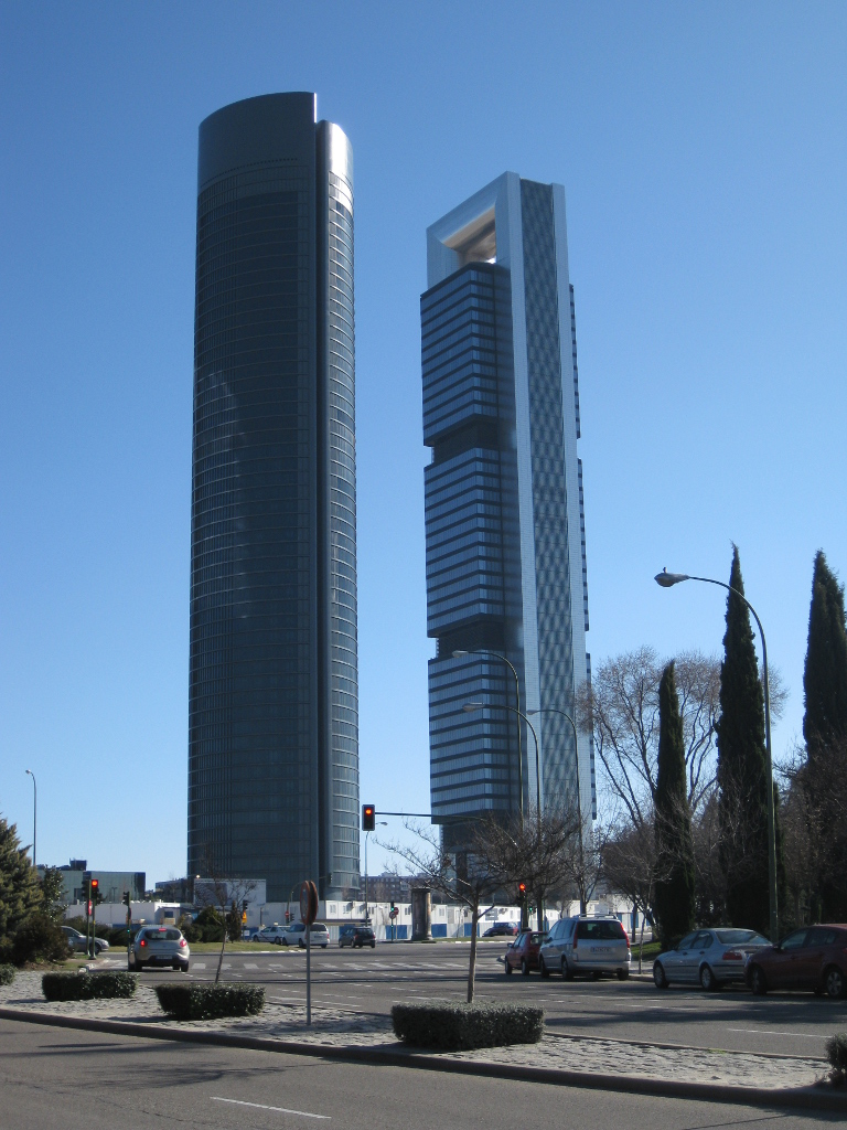 Madrid's Torre Sacyr Vallehermoso designed by Spanish architect Carlos Rubio Carvajal and Torre Caja Madrid by Foster+Partners