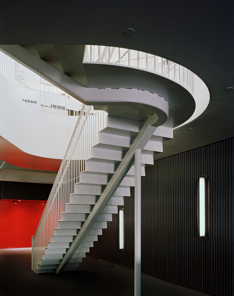 The stairs of Performance Capture Studio by Lorcan O'Herlihy Architects (LOHA) and Kanner Architects