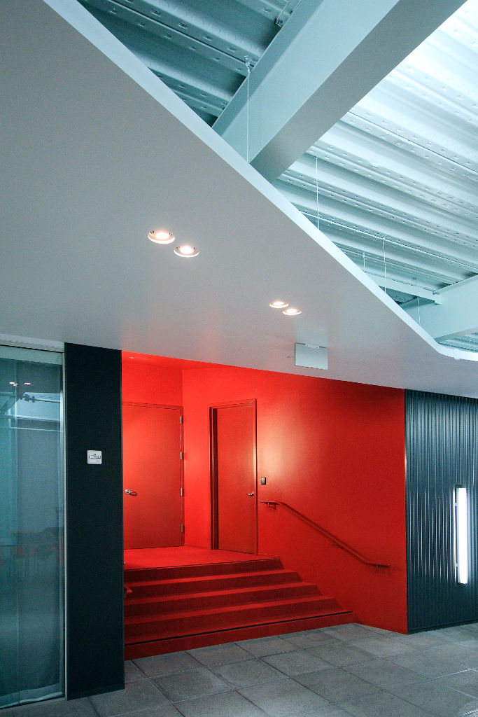 The interior of Performance Capture Studio stairs by Lorcan O'Herlihy Architects (LOHA) and Kanner Architects