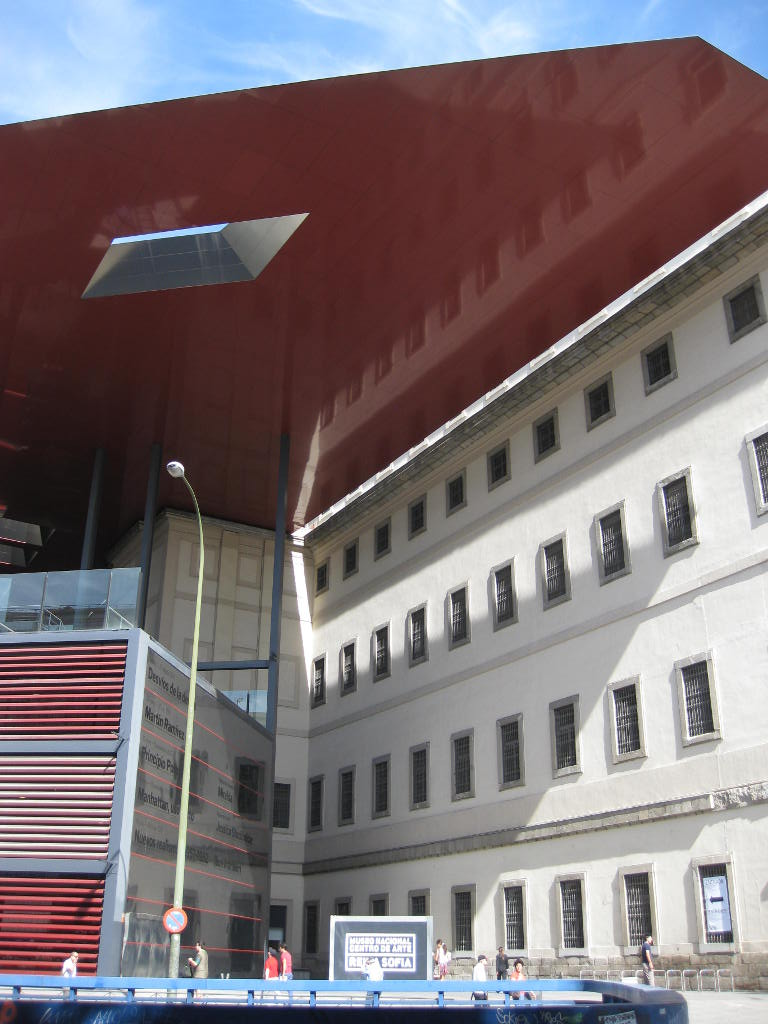 Modern exterior of the Reina Sofia Museum in Madrid, Spain