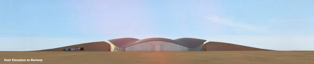 Rendering of Virgin Galactic's Terminal and Hangar Facility at Spaceport America in New Mexico by Foster + Partners