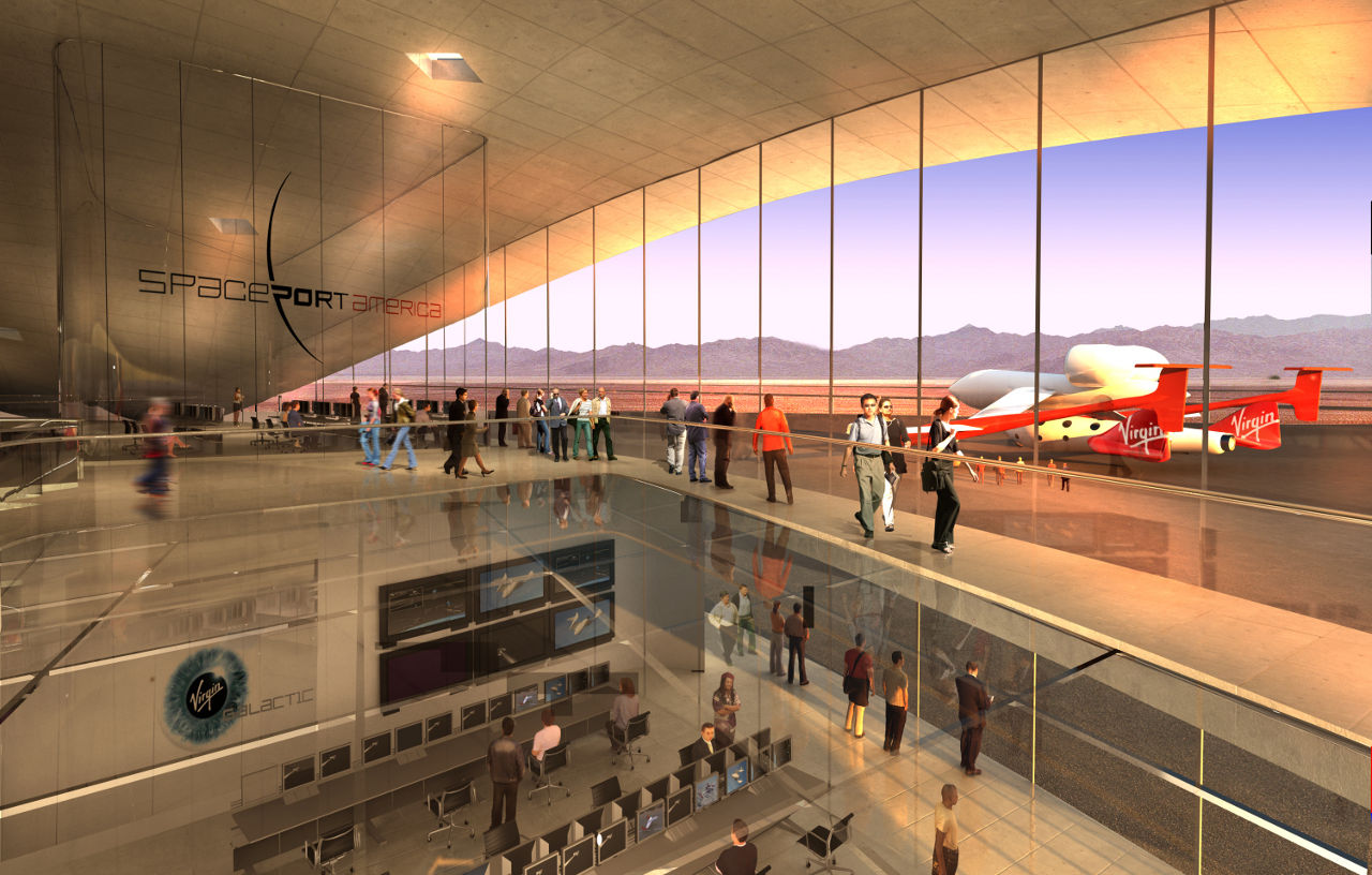 Interior rendering of Virgin Galactic's Terminal and Hangar Facility at Spaceport America in New Mexico by Foster + Partners