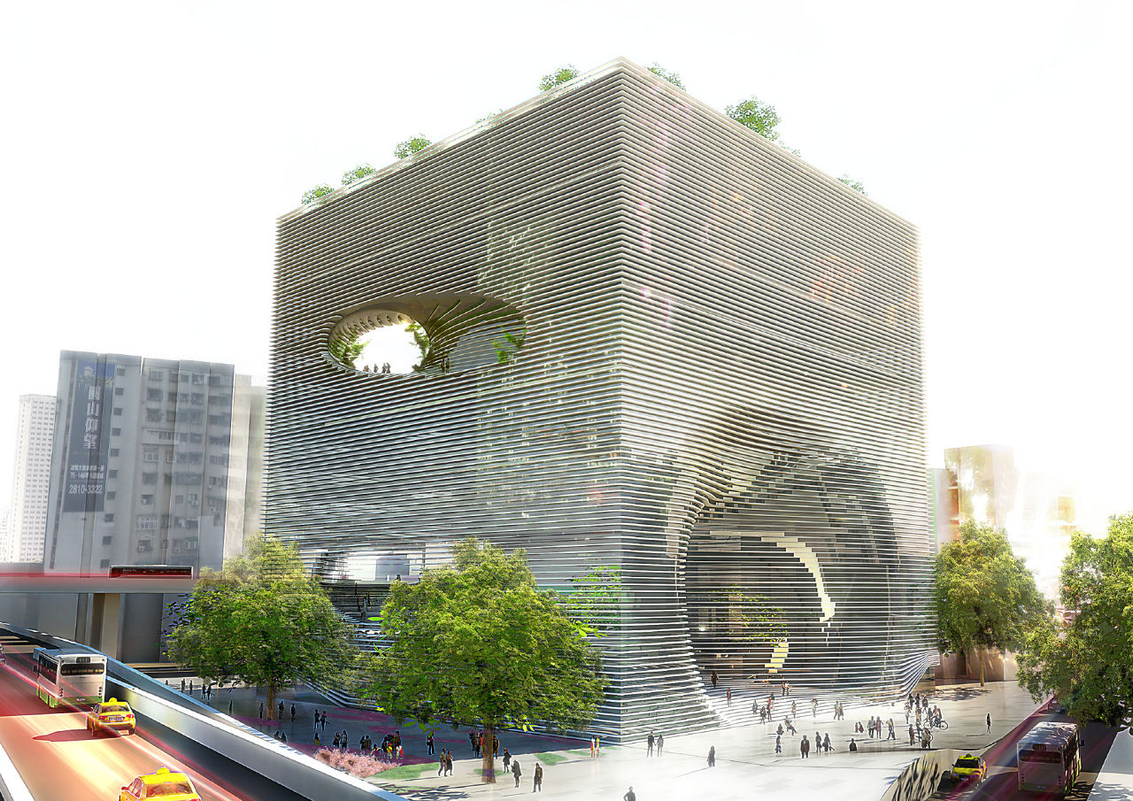 Bjarke Ingels Group's (BIG) exterior rendering for the Technology, Entertainment and Knowledge (TEK) Center in Taipei, Taiwan