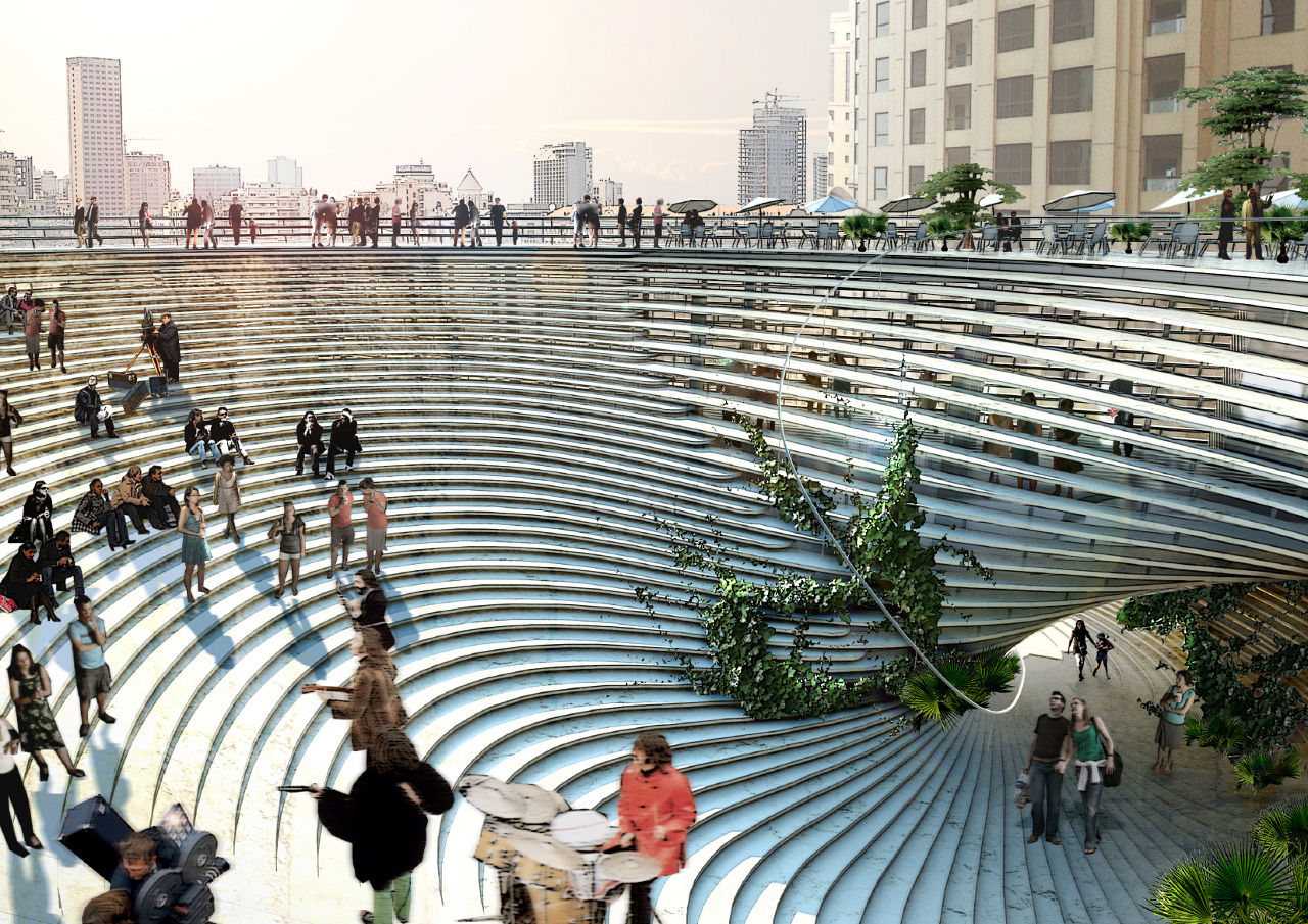 Bjarke Ingels Group's (BIG) rendering for the Technology, Entertainment and Knowledge (TEK) Center in Taipei, Taiwan