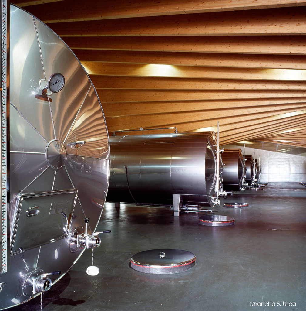 Inside of architect Santiago Calatrava's Bodegas Ysios winery in La Rioja Alavesa, Spain