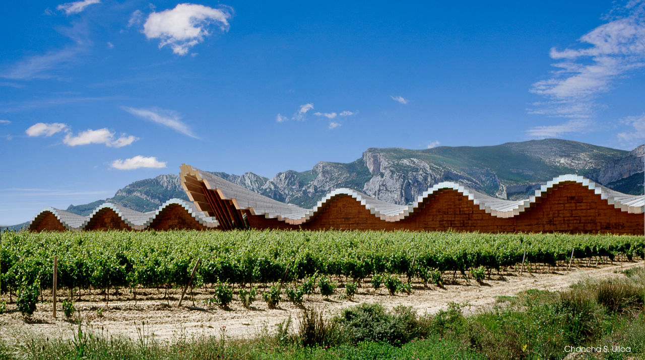 Architect Santiago Calatrava's Bodegas Ysios and surrounding vineyards in La Rioja Alavesa, Spain