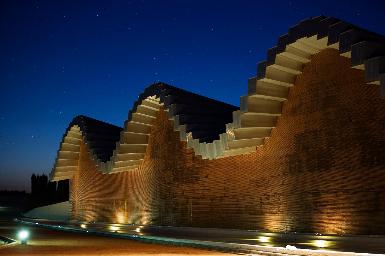 The rolling aluminum roof of Santiago Calatrava's Bodegas Ysios in La Rioja Alavesa, Spain