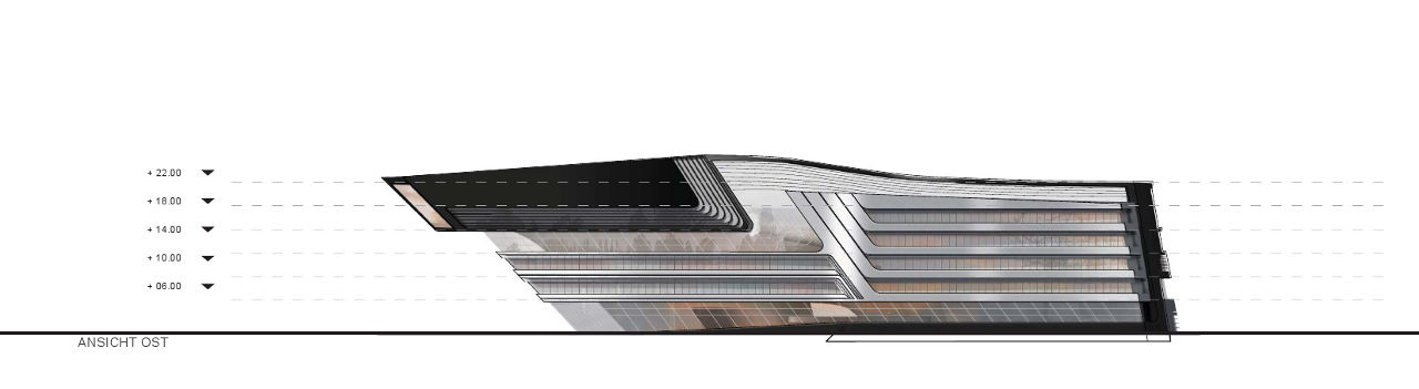 Elevation of Zaha Hadid's Library and Learning Center for the University of Economics and Business in Vienna, Austria