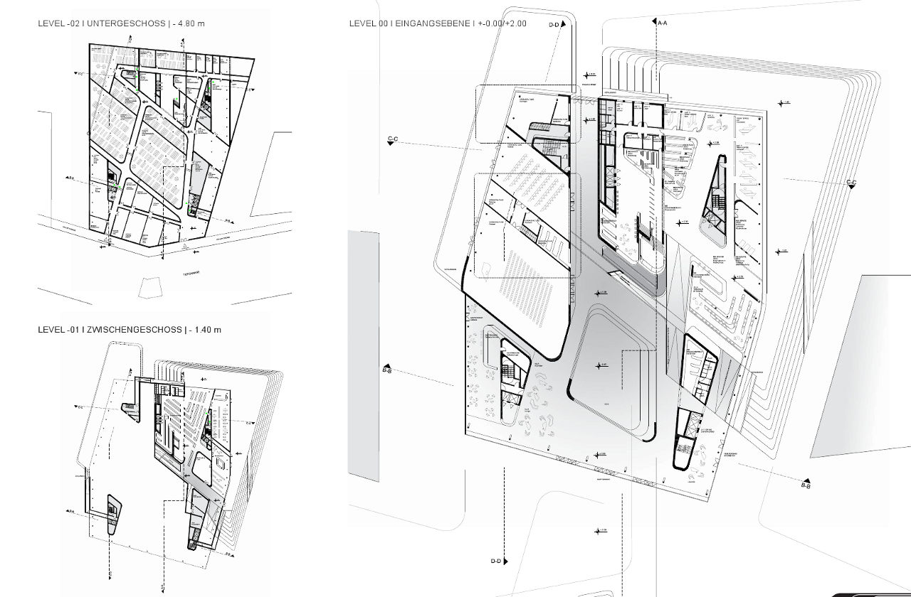 Floor plan of Zaha Hadid's Library and Learning Center for the University of Economics and Business in Vienna, Austria
