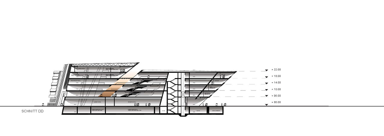 Drawing of Zaha Hadid's Library and Learning Center for the University of Economics and Business in Vienna, Austria