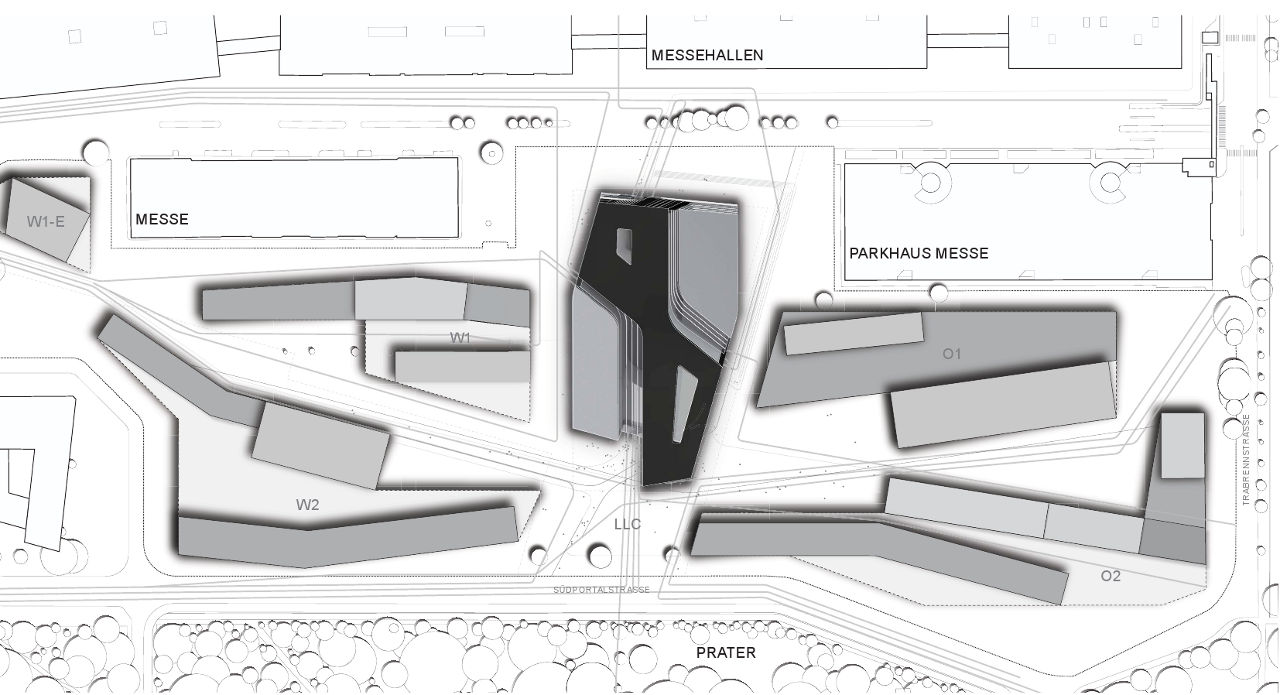 Site plan for Zaha Hadid's Library and Learning Center for the University of Economics and Business in Vienna, Austria