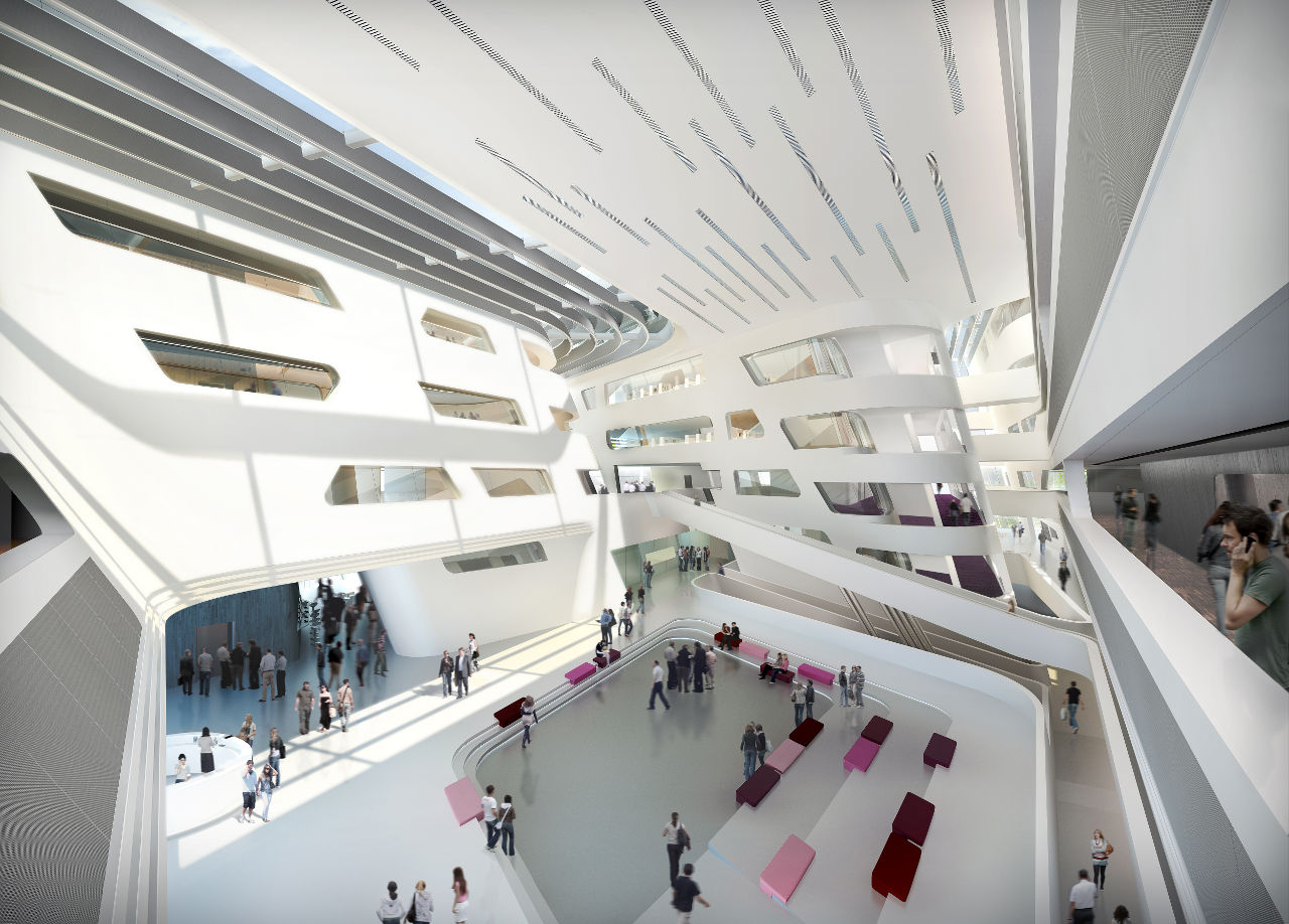 Zaha hadid 39 s library and learning center buildipedia for Interior design zaha hadid