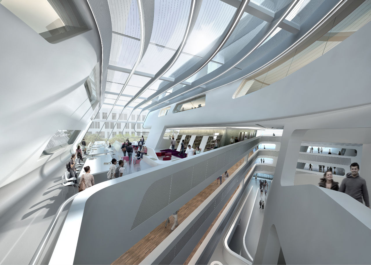 Interior rendering of Zaha Hadid's Library and Learning Center for the University of Economics and Business in Vienna, Austria