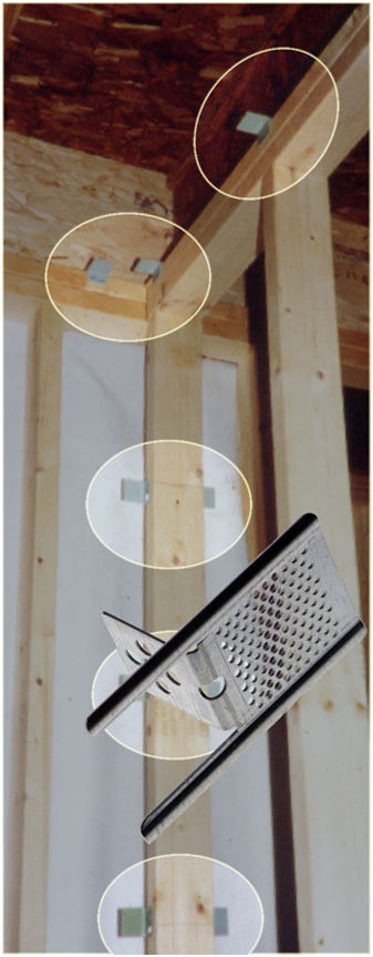 Illustration of drywall clips used instead of stud blocking