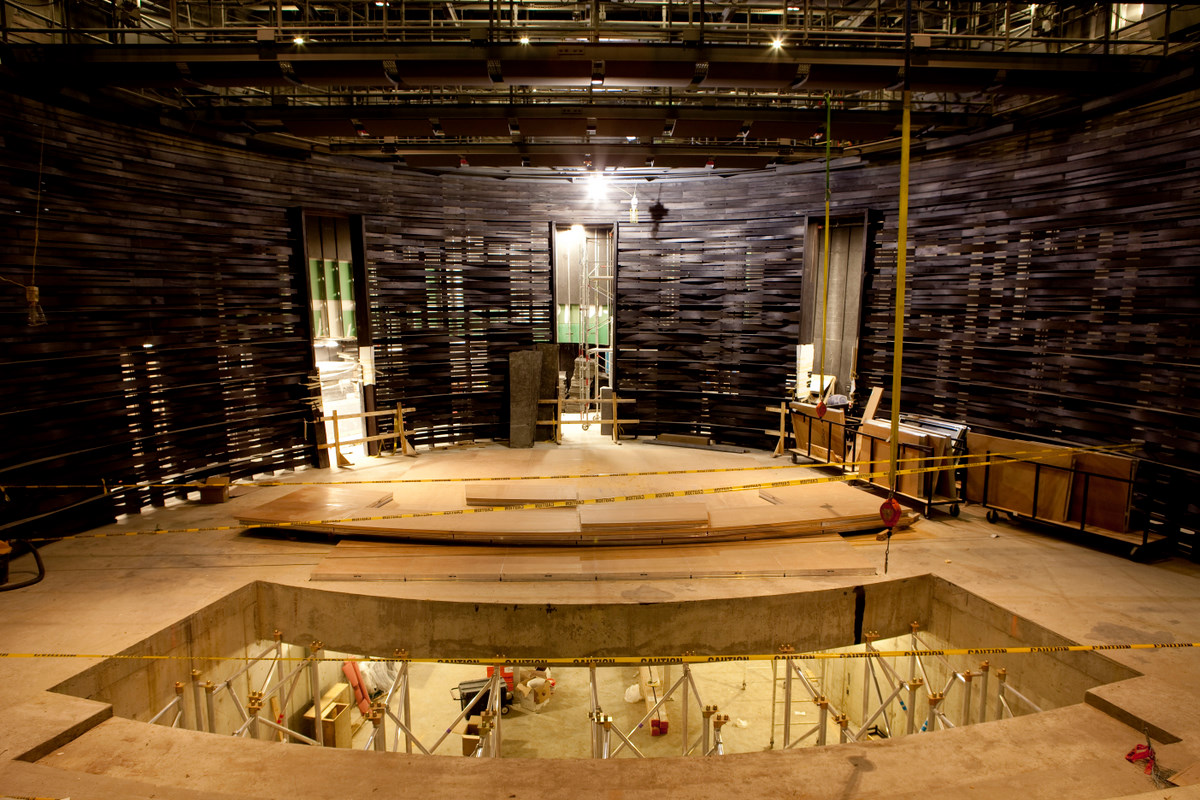 Construction within the Arlene and Robert Kogod Cradle at Bing Thom's Arena Stage Expansion in Washington, DC