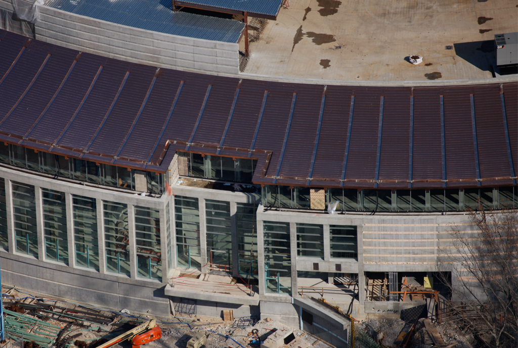 Aerial view of the Moshe Safdie Crystal Bridges Museum of American Art Construction site