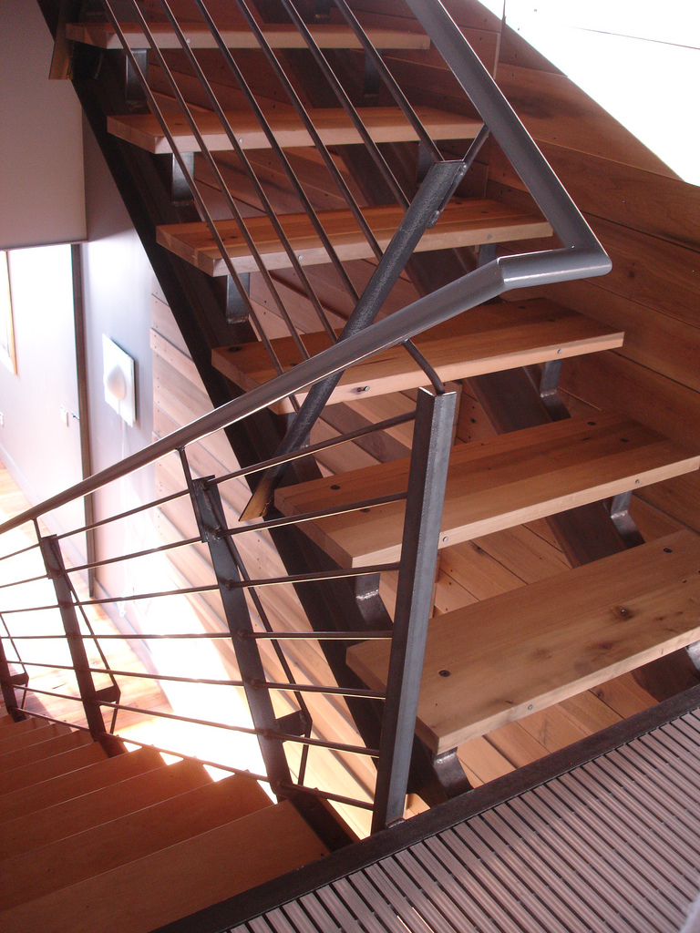 contemporary wood step staircase