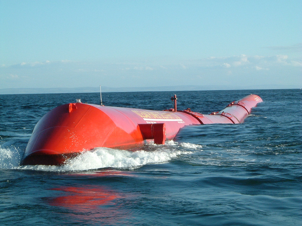 Pelamis Wave Energy Converter At Sea