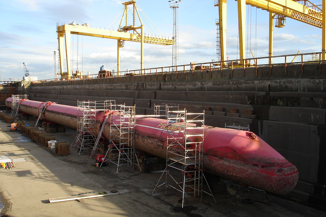 Pelamis Wave Energy Converter Dry Docked
