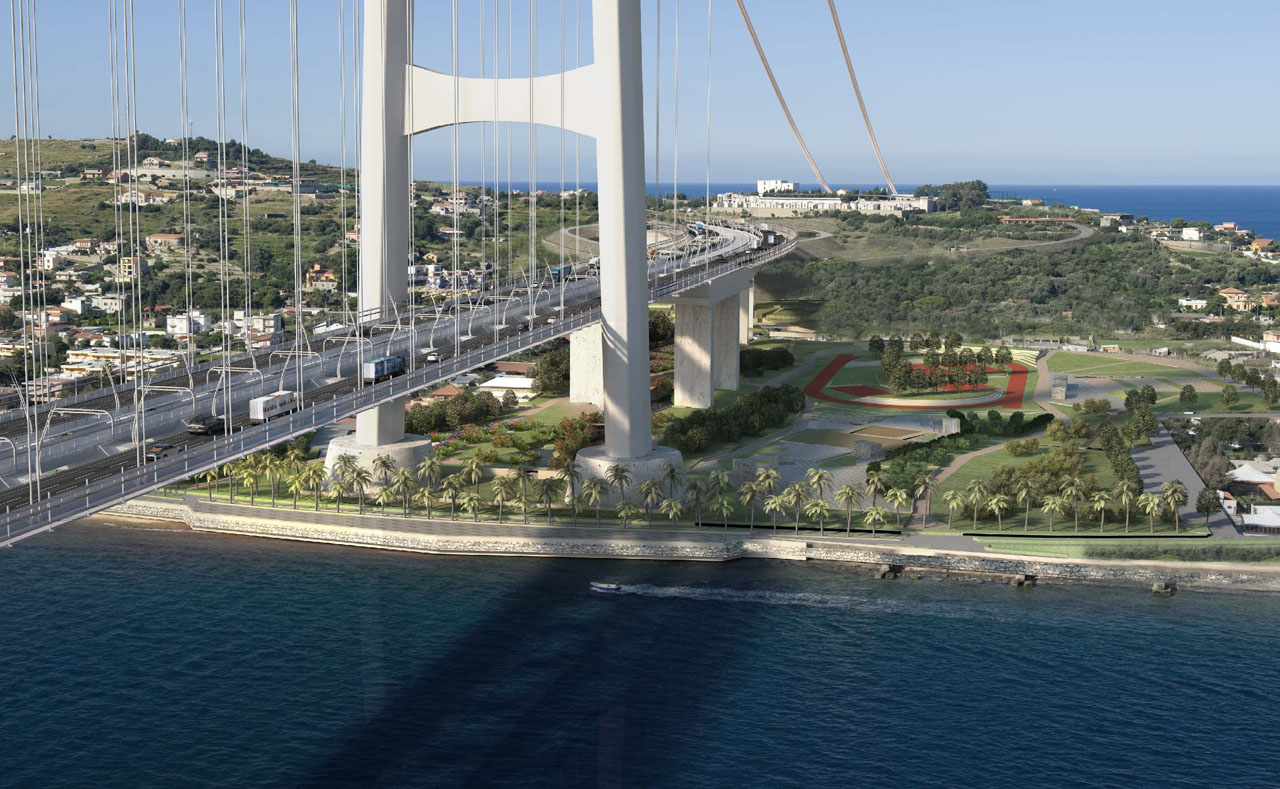 Rendering of the Strait of Messina suspension Bridge