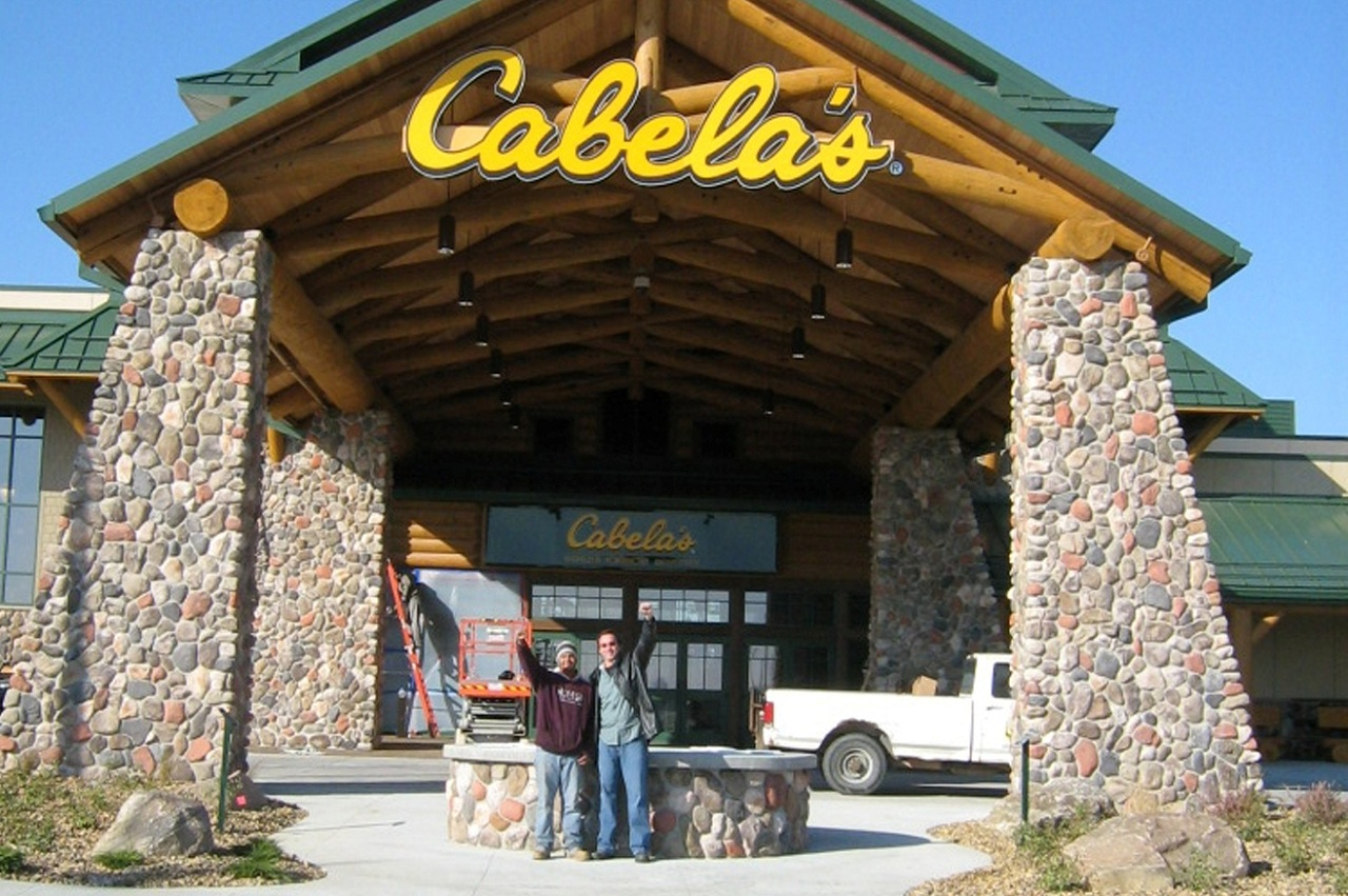 manufactured stone on a Cabela's store front