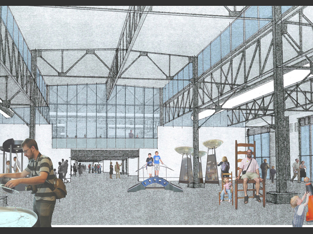 concept sketch of Exploratorium's interior