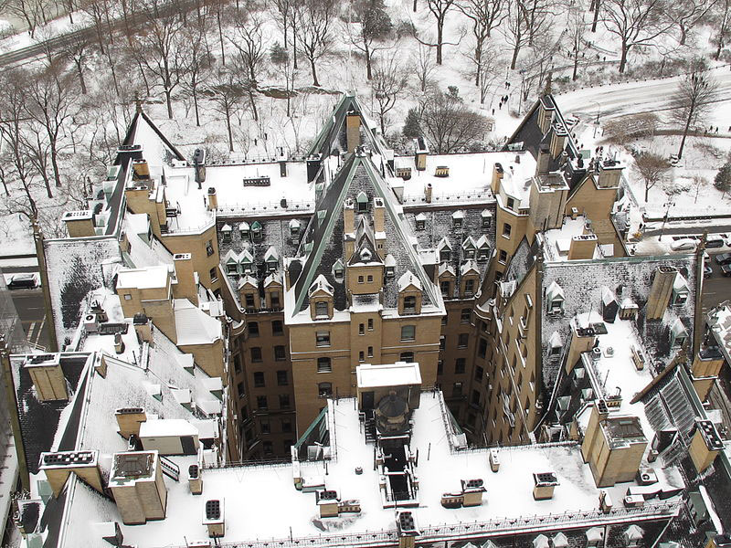 Aerial shot of the Dakota in snow - Photo by Jun