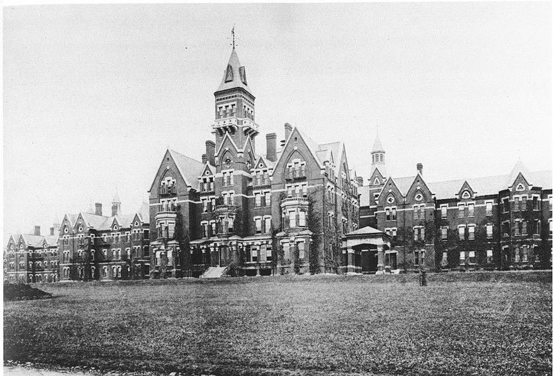 Danvers State Hospital, Danvers, Massachusetts, Kirkbride Complex, circa 1893. Architect Nathaniel Jeremiah Bradlee (1829-1888) of Boston.