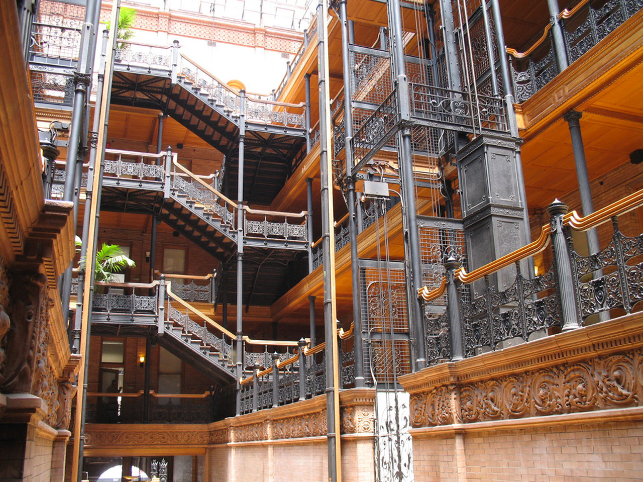 Interior shot of the Bradbury Building showing lattice work.