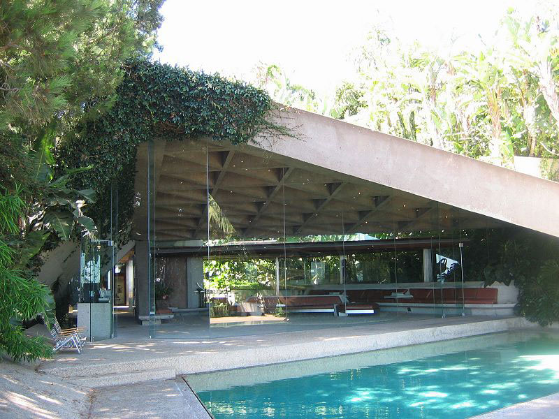Jackie Treehorne's pool, known in real life as the pool at the Sheats Goldstein House, by modernist architect John Lautner, in Beverly Hills, California. Photo by Arch James