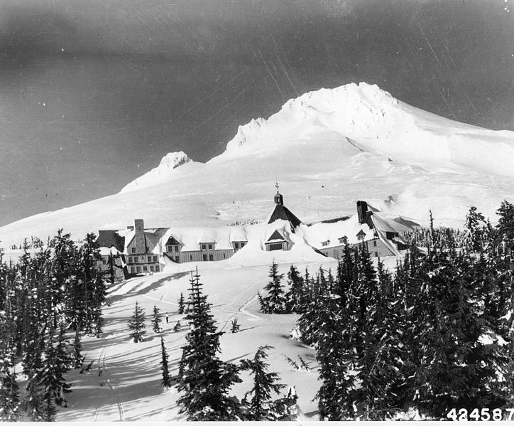 Mt. Hood and Timberline Lodge are shown under a blanket of snow during the winter of 1942. Photo by George Henderson for the U.S. Forest Service