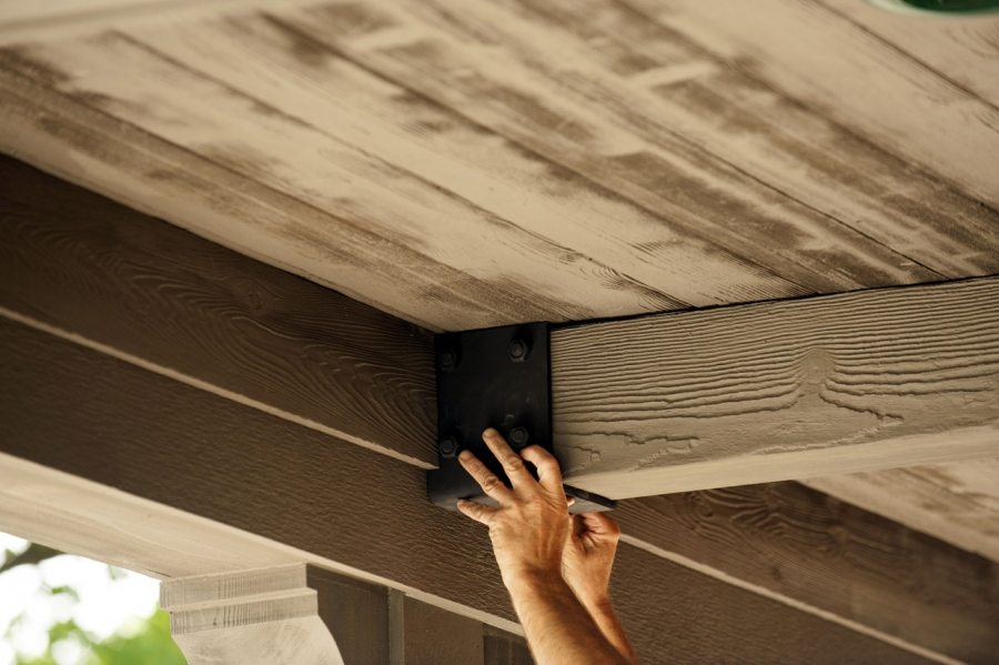 Step by step transforming a porch ceiling buildipedia for Adding wood beams to ceiling