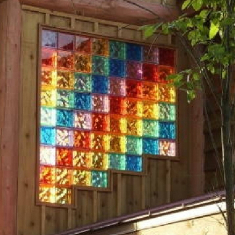 5 hot projects with colored glass block windows walls for Glass block window design ideas