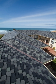 Custom blend of color on a California home roof featuring DaVinci Multi-Width Slate polymer roof.