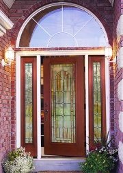 Arden decorative glass in Fiber-Classic Mahogany door